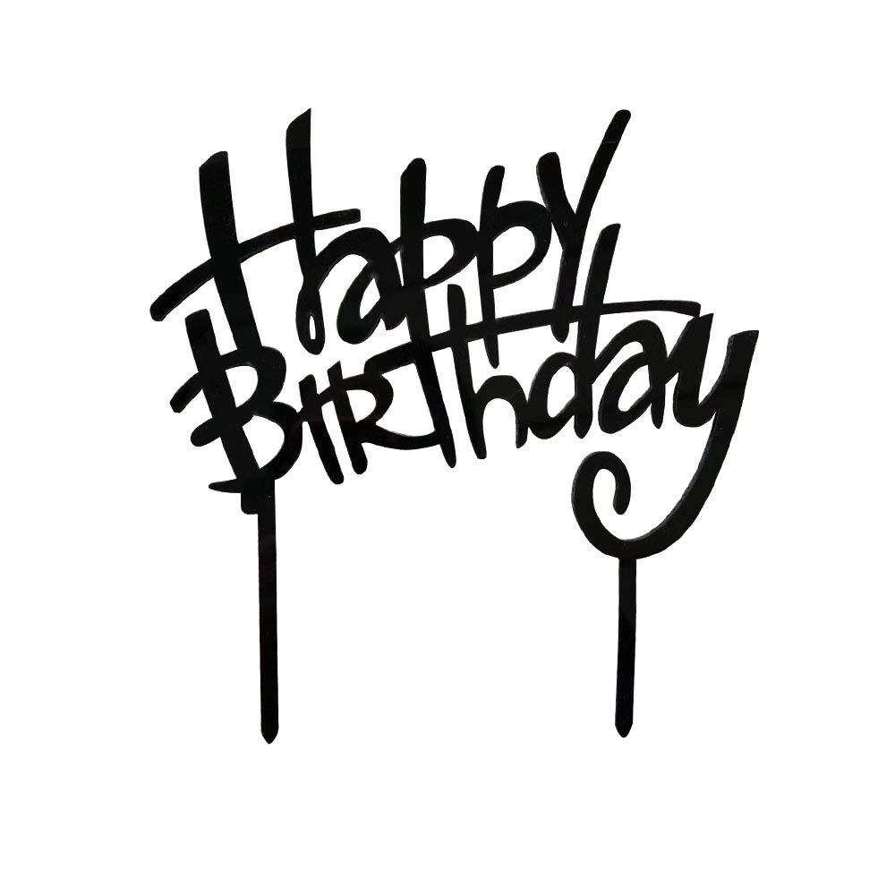 Happy Birthday Cake Topper, Black Acrylic Monogram Birthday Cake Toppers, Birthday Party Decorations Supplies UR-PartyGo