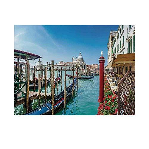 (Wanderlust Decor Photography Background,Gondola on Canal Grande Basilica di Santa Maria Della Salute Sunny Day in Venice Backdrop for Studio,10x6ft)