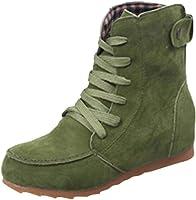 Yesmile Zapatos de mujer❤️Zapatos Botas Planas de Nieve de Tobillo de Mujer Botas de Cordones de Gamuza Femenina de Cuero