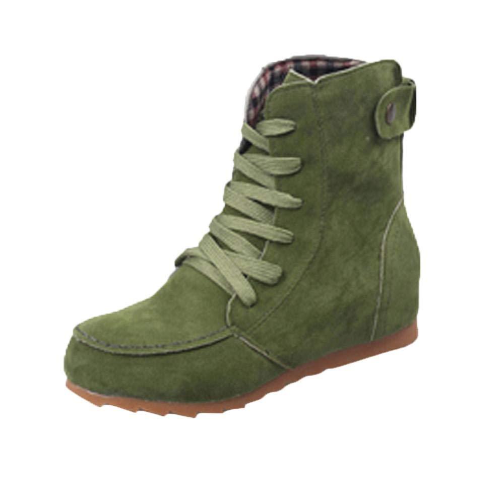 Logobeing Botines Mujer Tacon Invierno Planos Tacon Ancho Piel Botas de Mujer Medio Zapatos Combat Casual Planas Zapatos de Plataforma-5640(35, Verde)