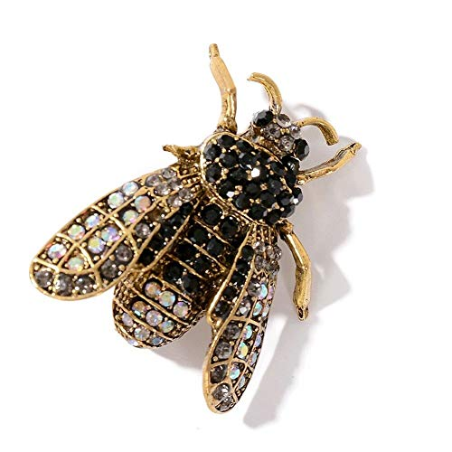 Very Realistic Bumble Bee Brooch Jewelry Insect Black Gold lapel Pin Broach Gift | ColorID - Black -