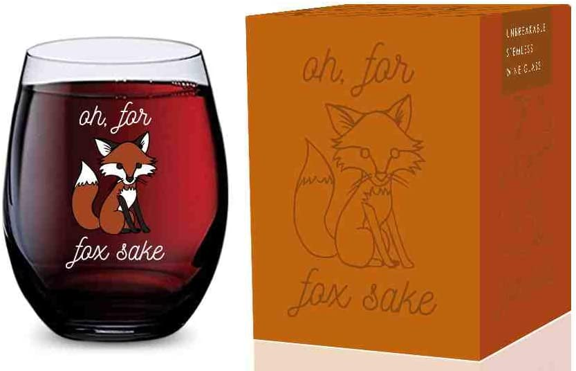 Stemless Wine Glass (Oh For Fox Sake) Made of Unbreakable Tritan Plastic and Dishwasher Safe - 16 ounces