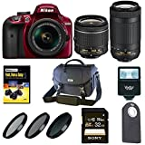 Nikon D3400 DSLR Camera (Red) w/ 18-55mm & 70-300mm Lenses & 32GB SD Card Bundle
