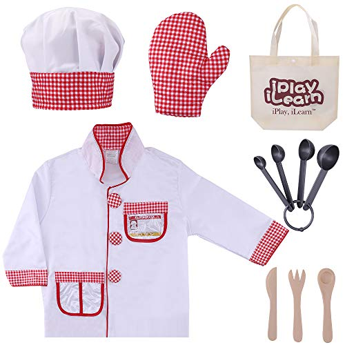 iPlay, iLearn Chef Role Play Costume, Cooking Dress Up Clothes, Kitchen Pretend Baking Play Set with Hat, Oven Mitt, Knife, for Ages 3, 4, 5, 6 Years Old Kids, Toddlers, Boys, Girls