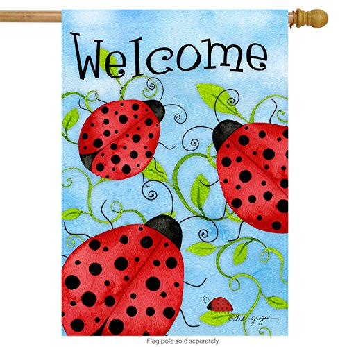 Banner Flag Ladybugs (Briarwood Lane Ladybug Welcome House Flag Spring Critters Insects 28