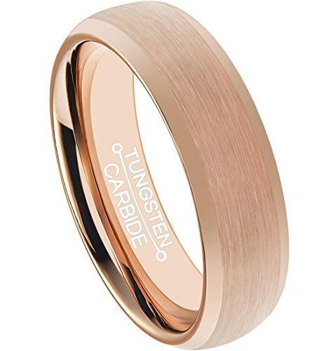 HSG Rose Gold Men Plated 6mm Comfort Fit Brushed Center Polishing Edge Tungsten Carbide Wedding Bands ()