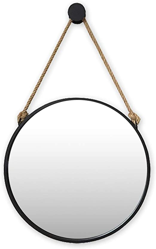 38cm*38cm, White Espejo Redondo de Pared Espejo de ba/ño Espejo de tocador Espejo de ba/ño Espejo Decorativo de Madera de Dormitorio Espejo Redondo con Cuerda