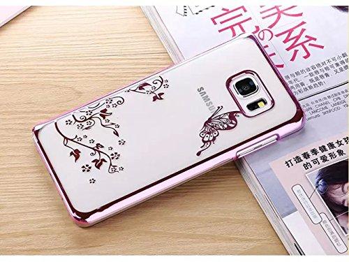 Samsung Galaxy S6 Funda, Bonice Accesorio Premium Bling Rhinestone Enchapado Pratical Hard Back Shell Ultra Delgado Carcasa Anti Golpes Anti Arañazos - Tree oro Mariposa rosa