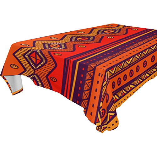 (African Art Tribal Print Polyester Tablecloth Table Cover for Dinner Party Picnic Kitchen Home Decor, Multi)