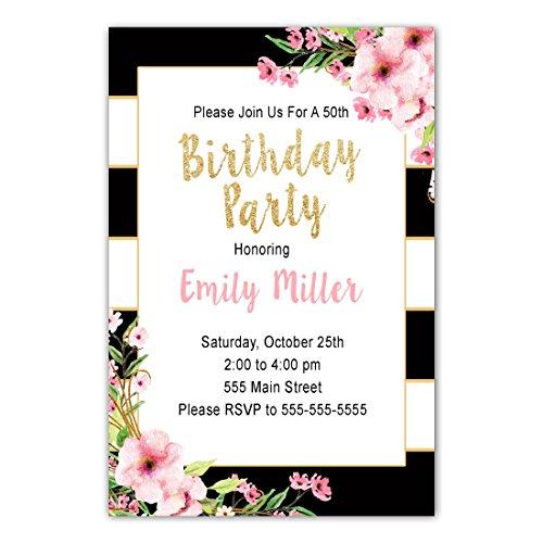 30 Invitations Black Pink Birthday Watercolor Flowers Photo (Custom Birthday Invitation)