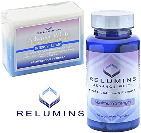 Relumins Advance White Oral Glutathione W/FREE Stem Cell Intensive Repair Soap- NEW and Improved Now with Rose Hips