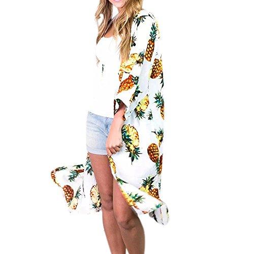Kimonos Cardigans for Women Womens Pineapple Print Loose 3 4 Sleeve Long Kimono Cardigan Beach Cover up Blouses (White, M)