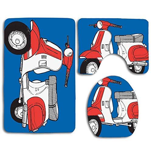 huachuangxinlHUQ Cute Scooter Motorcycle Retro Vintage Vespa Soho Wheels Rome Graphic Print Bathroom Rug Mats Sets 3 Piece Toilet Carpet Rugs Includes Contour Mat and Lid Cover, Non Slip