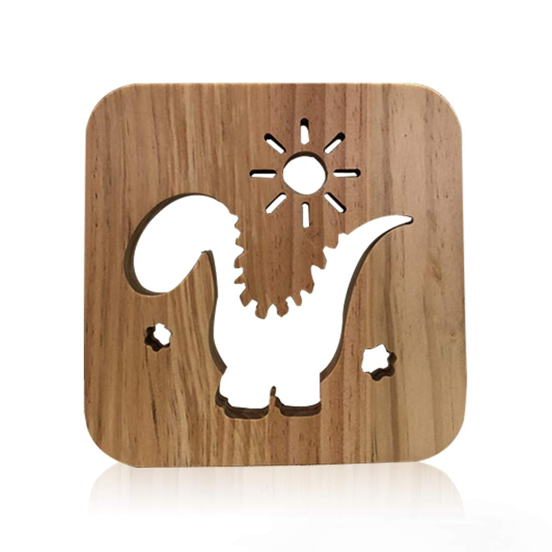 Wooden Dinosaur Led Lamp for Children, LeKong 3D Wooden Carving Patterns, USB Plug in, Gift for Birthday & Friendship, Fit for Halloween & Christmas Decoration, 2018 New
