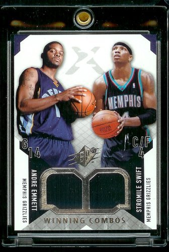 2004-05 SPx Winning Combos #Andre Emmett Stromile Swift Jerseys Memphis Grizzlies Basketball Card - Mint Condition - Shipped In Protective Screwdown Case! (Swift Jersey)