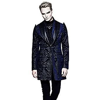 Gothic Punk Victorian Velvet Palace Men Trench Coats Fashion Halloween Long Winter Jacket (XXL, BLACK&BLUE)