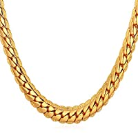 "U7 18K Gold Plated Necklace With ""18K"" Stamp Men Jewelry 4 Colors 6 MM Wide Snake Chain Necklace"