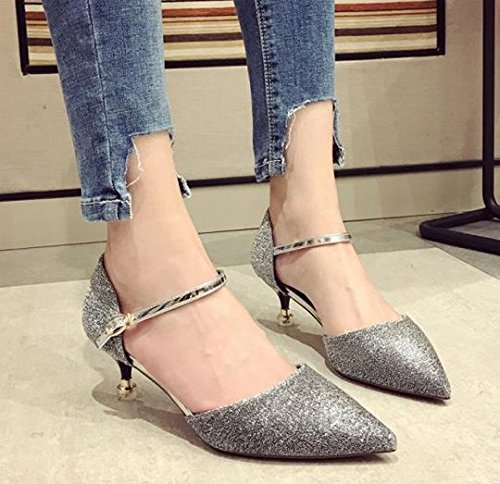 Buckle Lady Match Shoes 38 Bridesmaid Spring Pointed Shoes Leisure MDRW All Silver A Shoes Work Dress High Sequins Shoes Heels 5Cm Elegant Cloth HwqpdSpzF