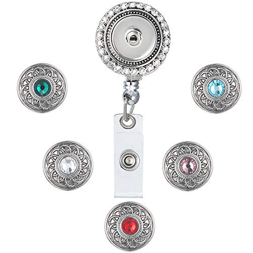 - LEGENSTAR Badge Holder Retractable Heavy Duty, Office ID Badge Reel with Crystal, Interchangeable Jewelry with 5 Snap Buttons(Retro)