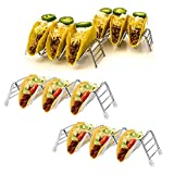 Stainless Steel Taco Holders, Taco Stand, Taco Truck Rack Tray- W Space for 9 to 12 Hard Taco Holder or Soft Shell Tacos- Oven Safe for Baking, Dishwasher and Grill Safe (4pack)