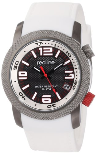 """red line Men's RL-50043-GY-01-WH """"Octane"""" Gunmetal Ion-Plated Stainless Steel and White Silicone Watch"""