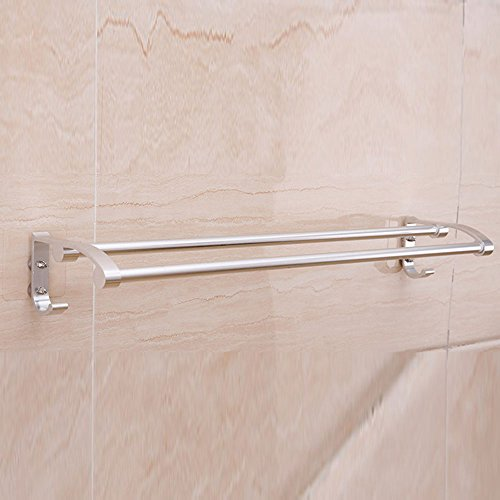 Shelf XM ZfgG Silver Space Aluminum Double Towel Rack, Non-perforated Suction Cup Wall Hanging Towel Rack 58cm13cm8cm (Twin Bracket Slot)