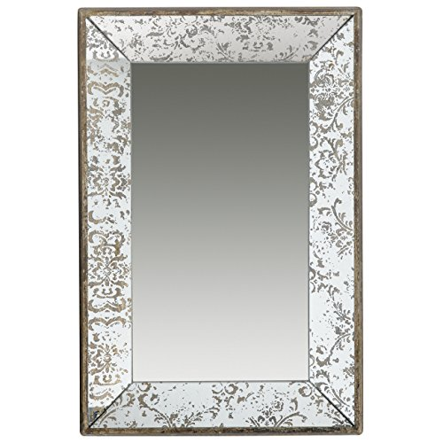- A&B Home Antique-Look Frameless Rectangle Wall Mirror Tray, 24