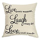 Ogiselestyle Live Every Moment Laugh Every Day Love Beyond Words Motivational Sign Cotton Linen Home Decorative Throw Pillow Case Cushion Cover with Words for Book Lover Sofa Couch 18'' x 18''