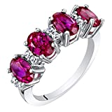 Sterling Silver Oval Cut Created Ruby Anniversary Ring Band 2 Carats Size 5