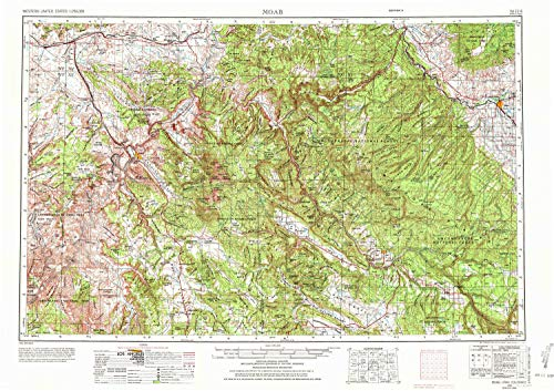 YellowMaps Moab UT topo map, 1:250000 Scale, 1 X 2 Degree, Historical, 1956, Updated 1972, 22 x 31.2 in - Polypropylene