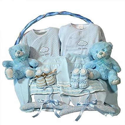 Canastilla bebe - Clasica gemelos azul - Cesta de regalo para recien ...