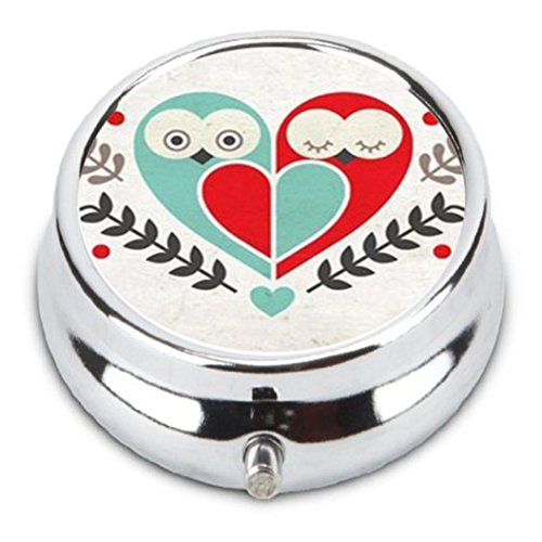 I love you forever owl and flowers Custom Fashion Pill Box Medicine Tablet Holder Organizer Case for Pocket or Purse