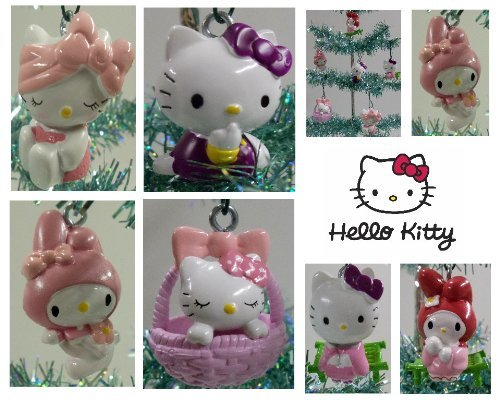 (Set of 6 Hello Kitty Christmas Tree Ornaments Featuring Hello Kitty in Various Poses )