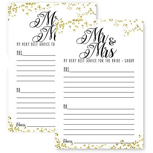 Mr. & Mrs. Wedding Advice Card Pack (25 Set) Black and Gold