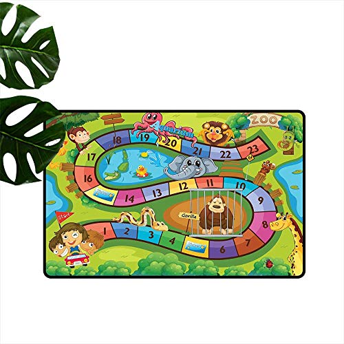 (Anzhutwelve Kids Activity,Carpets Doormat A Day in a Zoo Themed Cartoon Style Children and Exotic Animals Gorilla Lion Printing Non-Slip Floor Mat W 24