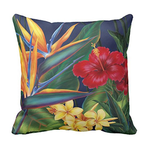 Emvency Throw Pillow Cover Tropical Paradise Square Decorator Decorative Pillow Case Floral Home Decor Square 16 x 16 Inch Cushion (Hibiscus Pillow)