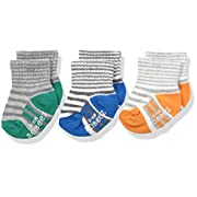 Robeez Boys' 3pk Crew Socks, Cotton and Spandex Blend with Non Skid Application, Assorted-Primary, 0-6 Months