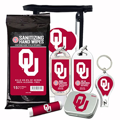 Rugby Oklahoma Sooners - Oklahoma Sooners 6-Piece Fan Kit with Decorative Mint Tin, Nail Clippers, Hand Sanitizer, SPF 15 Lip Balm, SPF 30 Sunscreen, Sanitizer Wipes. NCAA Gifts for Men and Women