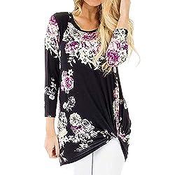 Aries Esther Womens Knot Blouses Tops Floral Shirt Chiffon Blouse Short Sleeve Flowy Summer T Shirts Black
