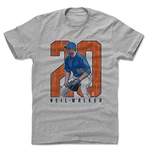 500 LEVEL's Neil Walker Clutch O New York M Baseball Men's Cotton T-Shirt XL Heather Gray Officially Licensed by the Major League Baseball Players Association (MLBPA)