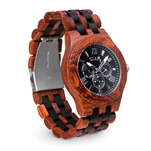 Emolly Wooden Watch for Men - Unique Conversation Piece Red Sandalwood & Ebony Black Big Face Chronograph in Wood Gift Box - Lightweight and Classy timepiece will Feel Better on Skin than Metal