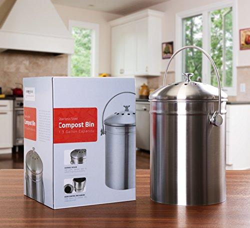 Compost Bin Kitchen Indoor Outdoor Counter-top 1.3 Gallon
