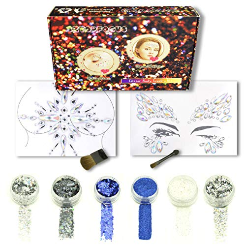 Body Glitter Chunky Cosmetic Holographic Extra Fine Face Sticker Festival Makeup Hair Nail Art Glitter Tattoo Kit Rave ()