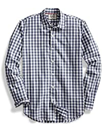 Men's Standard-Fit Long-Sleeve Large-Scale Gingham Shirt