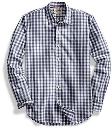 Goodthreads Men's Standard-Fit Long-Sleeve Gingham Plaid Poplin Shirt, Navy/White, X-Large (Casual Long Plaid Sleeve)