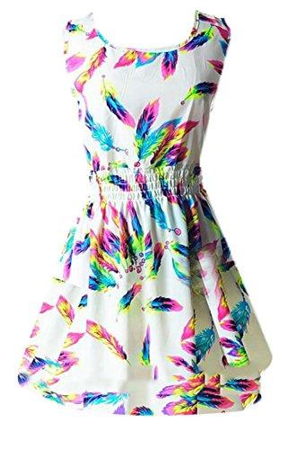 Les Femmes Cromoncent Sundresses Taille Plus Mousseline Floral Encolure Ras Du Cou Imprimé Parti Balancer Robe Courte 13