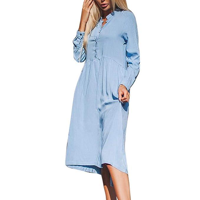 Kleider Blusen Tuniken für Damen Elegant Kostüm T-Shirt Kleid Langarmkleid  Strandkleid Lose Einfache Einfarbig Maxi Kleidet Lange Shirt Kleid Frauen  Langarm ... 55768dd3ef