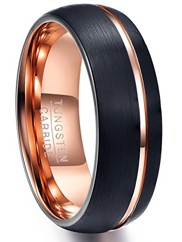 NUNCAD Rose Gold Tungsten Carbide Wedding Band Ring Grooved Black Brushed Finish Comfort Fit Size 7 to 12