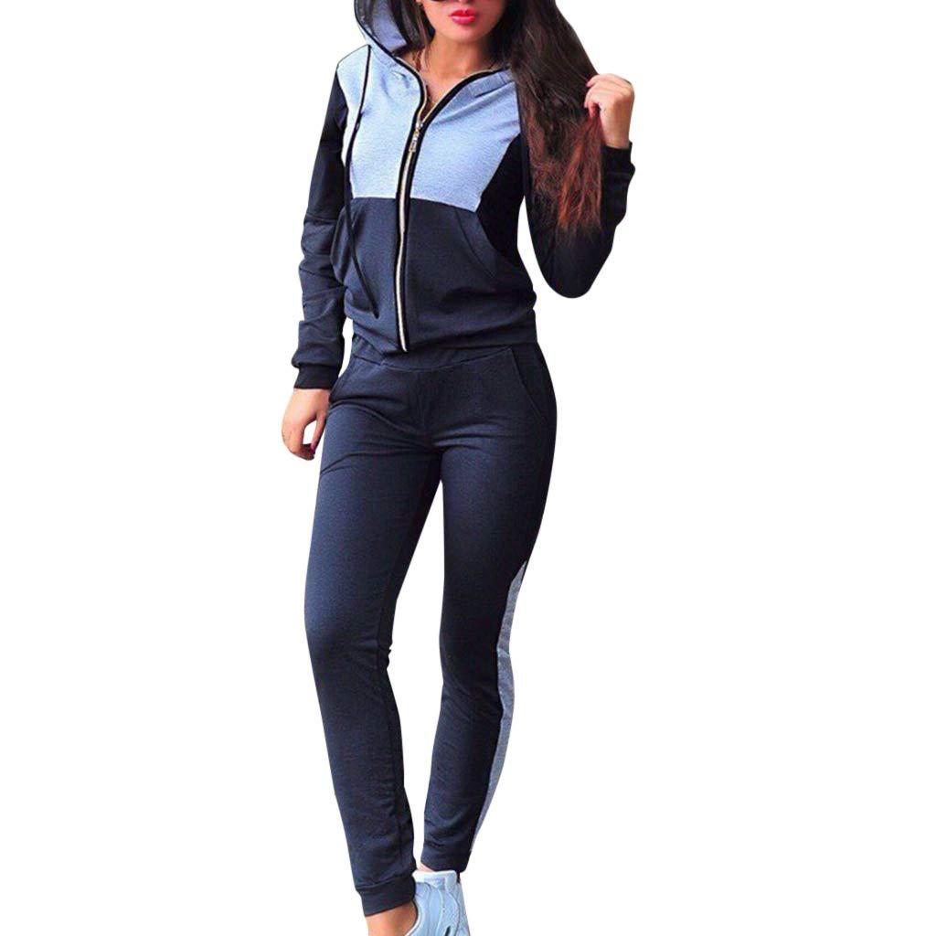 Fashion Women Casual Splice Zipper Long Sleeves Tracksuit Sweatshirt Pullover Sport Tops+Pants Hoodies Anime Hoodie Set