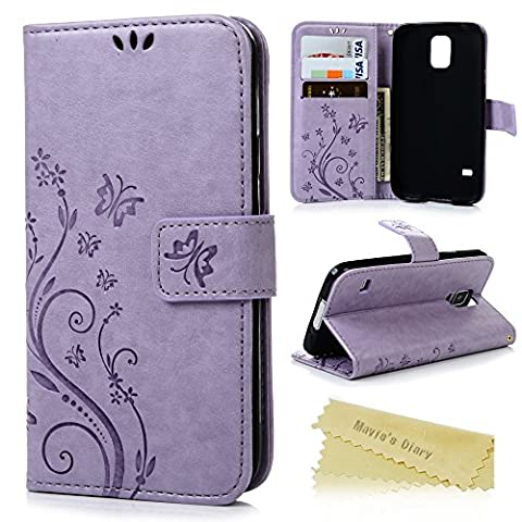 S5 Case, Samsung Galaxy S5 Case - Mavis's Diary Premium Wallet PU Leather with Fashion Embossed Floral Butterfly Magnetic Clasp Card Holders Flip Cover with Hand Strap - Light (Flip Cover Cases For Galaxy S5)